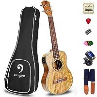Ukulele Soprano Electric Ukulele Zebra Wood Solid 21 inch Best Hawaii Acoustic Ukelele Beginners Starter Kit, by Vangoa