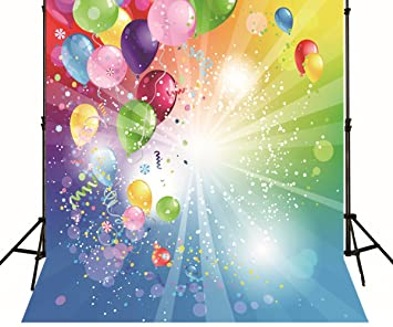 Generic Happy Birthday Photo Backdrop Colorful Balloons Cherr Ribbon Blue Green Children Party Background Printed Fabric