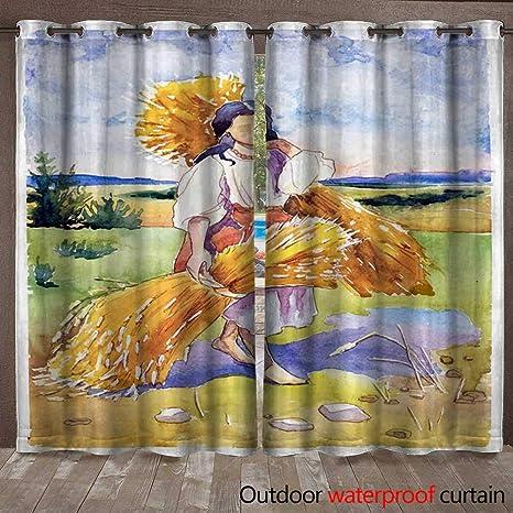 BlountDecor Cortina de Ventana niña con Cepillo de Pintura Cortina Impermeable W108 x L96: Amazon.es: Jardín
