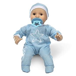 "Melissa & Doug Mine to Love Jordan 12"" Light Skin-Tone Boy Baby Doll with Romper, Cap, Pacifier"