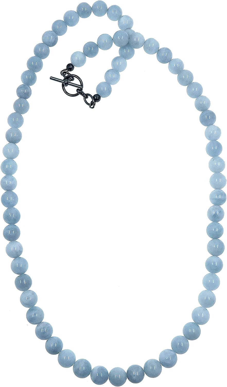 18 Aquamarine Necklace 9mm Boutique Icicle Blue Genuine Gemstone Round Crystal Healing Handmade Strand B01