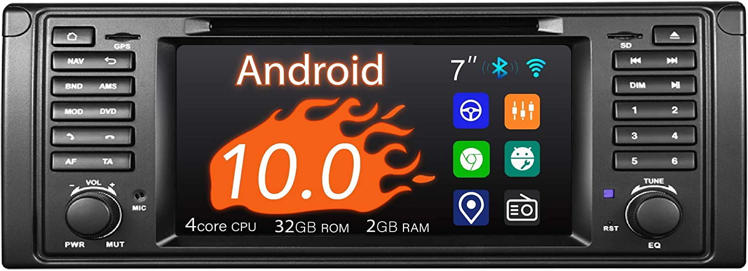 "Car Stereo, 1 Din for BMW 5 Series 1996-2003 E39 M5, 7"" Touchscreen, DVD Player Built-in, Support Android Auto Apple Carplay/GPS Navigation/Backup Camera/OBDII"