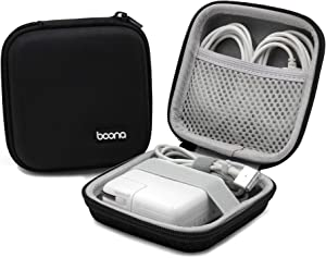 BOONA Power Adapter Exclusive Bag, EVA Hard Shell Portable Charger Case for Laptop MacBook Accessories,Gadgets, Cables, Cords, USB Drives, Earphones - Small, Black