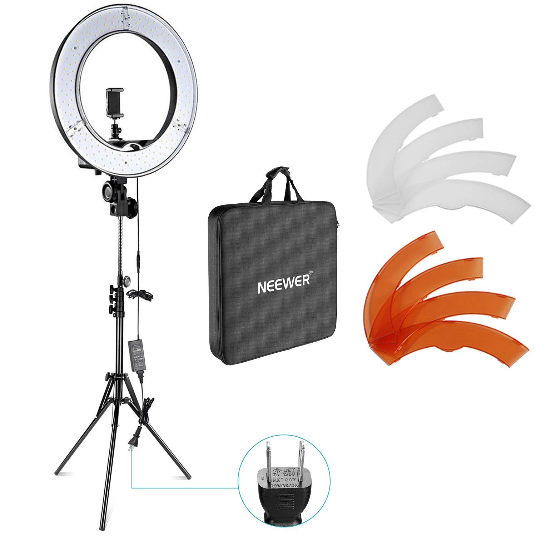 Neewer カメラ写真ビデオ用照明セット 18インチ/48cm外部55W 5500K調光LEDリングライト、ライトスタンド、スマートフォン、Youtube、自撮り撮影などに使え 18-in ソフトチューブ キット  B075153CFF