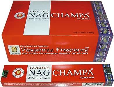 Laroom Pack 12 Cajas de Incienso Golden Nag Champa, Compuesto ...