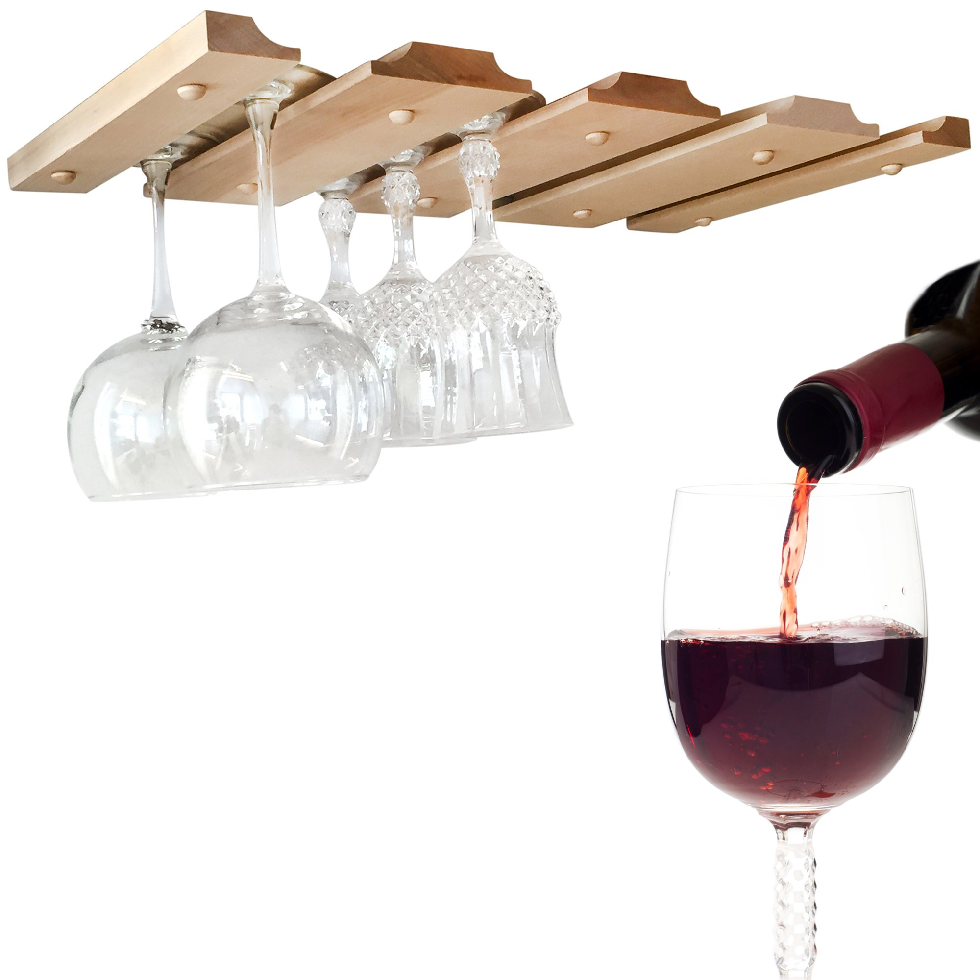 SMITCO Wood Wine Glass Holder Under Cabinet for Hanging Stemware Storage -Unfinished Wood Glass Rack to Organize 12 Glasses (Double) - 11 Inches Deep x 20 Inches Wide - Made in The USA by SMITCO