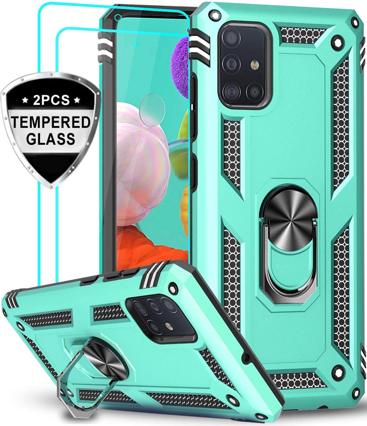 LeYi Samsung Galaxy A51 Case (Not Fit A51 5G) with Tempered Glass Screen Protector [2 Pack], [Military Grade] Defender Protective Phone Case with Car Ring Holder Kickstand for Samsung A51, Mint