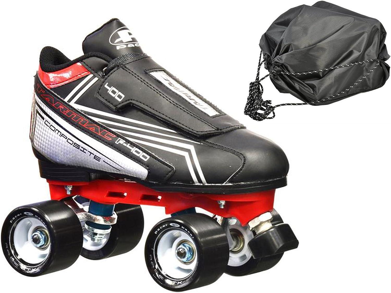 新しい。Pacer Tarmac f-400 Quad Roller Speed Skates w/Free Drawstring bag 。 Mens 6  Mens 6