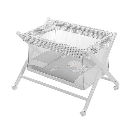 Interbaby Minicuna Transparente Tijera Pegable Blanco Gris Incluye Textil exterior + Colchón + Colcha + Almohada