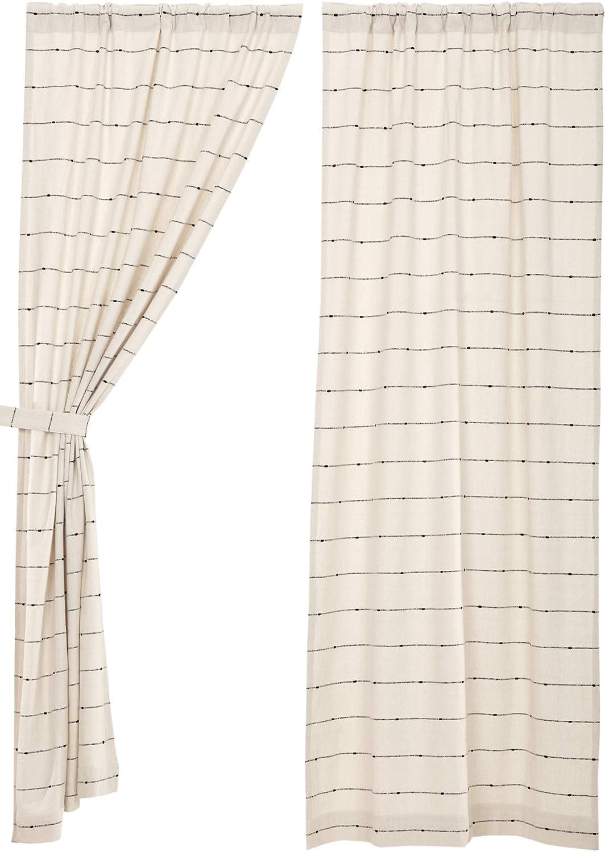 Urban Rustic Farmhouse Style Curtain Piper Classics Farmcloth Stripe Panel Curtains 63 Long Set of 2 Natural Cream Woven w//Black Stripes