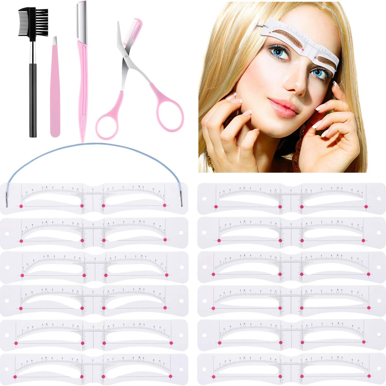 12 Pieces Eyebrow Stencil Eyebrow Shaping Template Reusable DIY Makeup Tool with Strap, Brow Scissor, Eyebrow Razor, Eyebrow Tweezer and Brow Brush