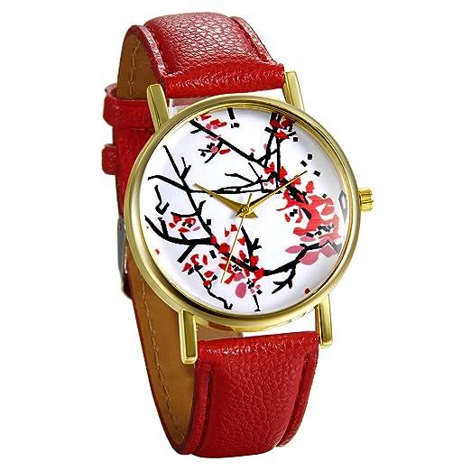 JewelryWe Reloj de Pulsera de Mujer Flores Rojas de Estilo Chino Oriental, Correa de Cuero Rojo de Buena Fortuna, Reloj Cuarzo Analogico Buen Regalo Para ...