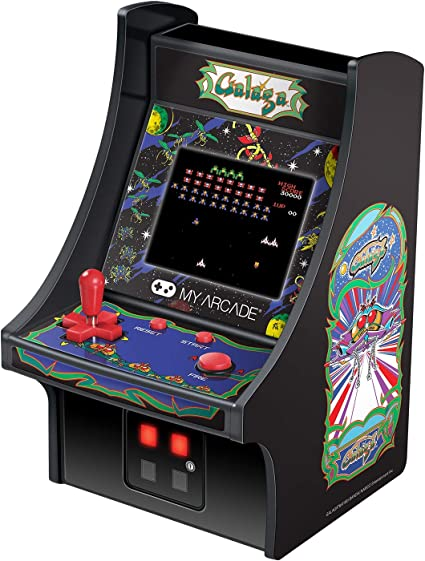 My Arcade Micro Player Mini Arcade Machine: Galaga Video Game, Fully Playable, 6.75 Inch Collectible, Color Display, Speaker, Volume Buttons, ...