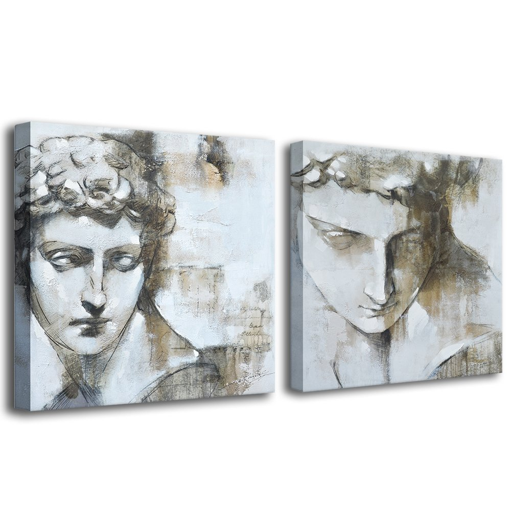 Crescent art framed classic black and white greece david statue charcoal pencil sketch painting picture on canvas printing wall art for living room wall