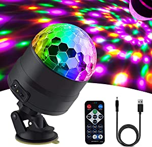 Disco Ball Party Lights Strobe Light Disco Lights with Remote Control DJ Lighting, RGBP 7 Colors Stage Par Light for Car Home Room Dance Parties Lightshow Kids Birthday Wedding Show Club Pub