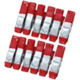 ESUMIC® 12 st 2 tum metallfjäderklämmor gummibelagda spetsgrepphållare för camping presenning