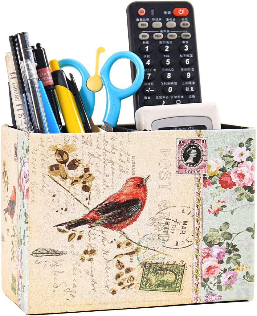 Pen Holder, PU Leather remote control Stand Flower Floral Pattern Pencil Cup Container Brush Scissor Holder Desk Organizer for Office Desk Home Decorative square brush pot (5.9X4.3in(FXPG-9))