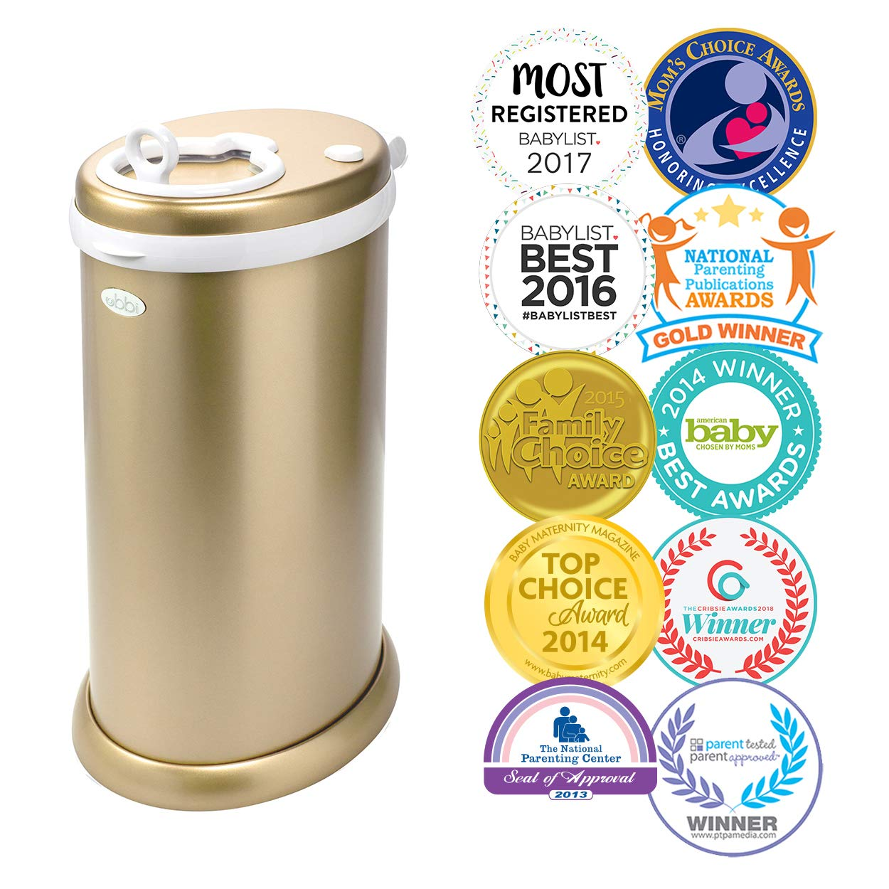 Ubbi Limited Edition, Money Saving, No Special Bag Required, Steel Odor Locking Diaper Pail, Gold