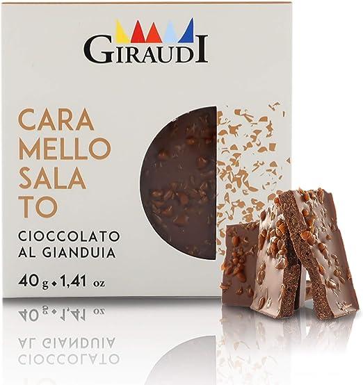 Giraudi Tableta de Chocolate con Leche gianduja y trocitos de Caramelo Salado - 40 gr (Paquete de 4 Piezas): Amazon.es: Hogar