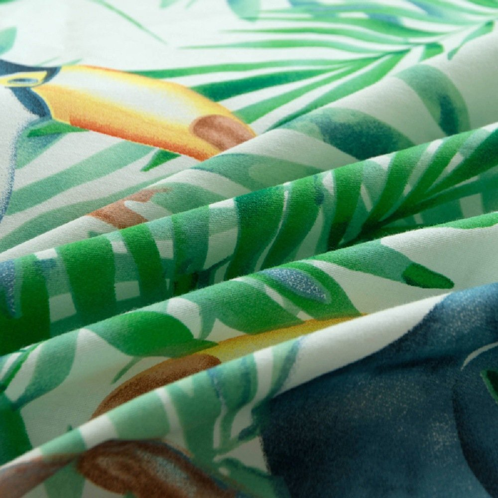 Jane yre Tropical Green 3 Piece Duvet Cover Set Bedding Set.Hawaiian Duvet Covers Tropical Woodpecker Bedspread Green Leaves Quilt Cover Queen Size by Jane yre (Image #4)