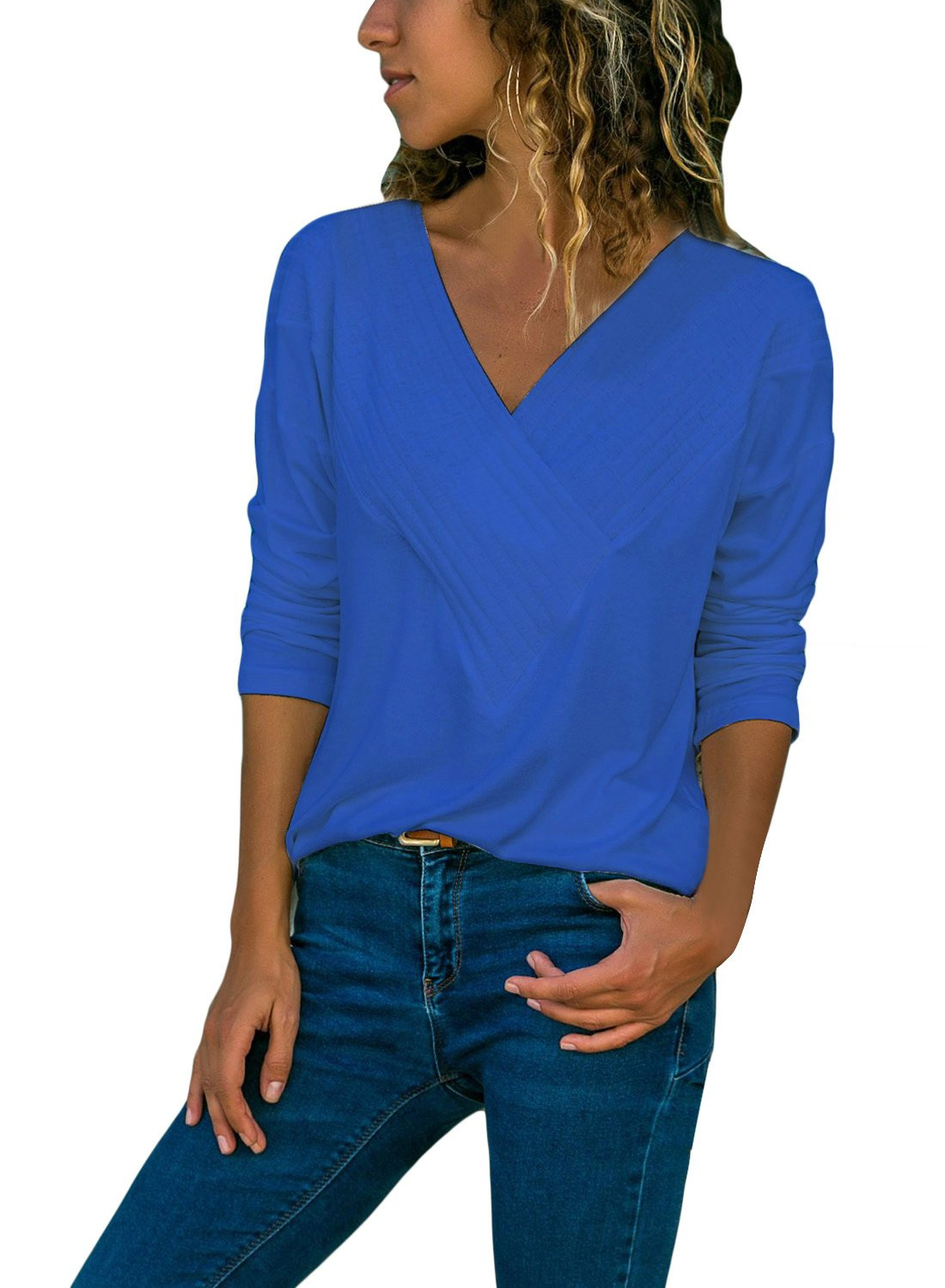 BLENCOT Women's Ladies 2018 Long Sleeve Blue Wrap Front V Neck Basic Solid Blouses Shirts Casual Fall Tee Tops Large