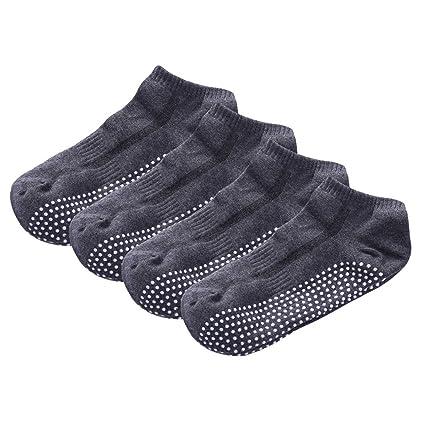 SANIQUEEN.G 4 Pares Calcetines de Yoga para Hombres, Coton Pilates, Barre, Dance Floor Calcetines con puños Antideslizantes Calcetines