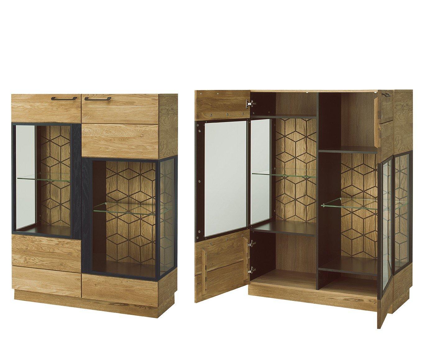 Exquisit Vitrine Küche Galerie Von Vitrinenschrank Mosaic Eiche Massiv Natur Furnier (ohne