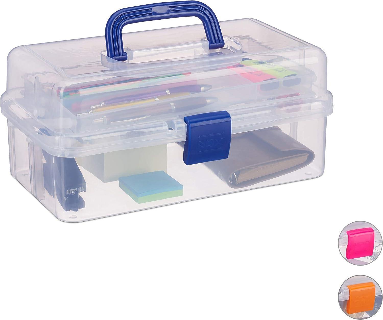 Relaxdays Estuche de plástico, Organizador con Nueve Compartimentos, Asas, Cierre Click, Azul, 14 x 33 x 19 cm