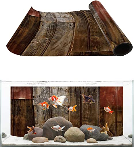 Fantasy Staring Aquarium Background Multi-Color Rustic Wood Board Fish Tank Wallpaper Easy to Apply and Remove PVC Sticker Pictures Poster Background Decoration