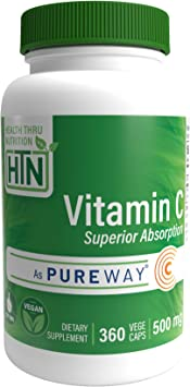 Superior Absorption Vitamin-C 500mg as PureWay-C® (360 VegeCaps) Non GMO and Free from Common excipients Such as Magnesium Stearate and Silica by ...