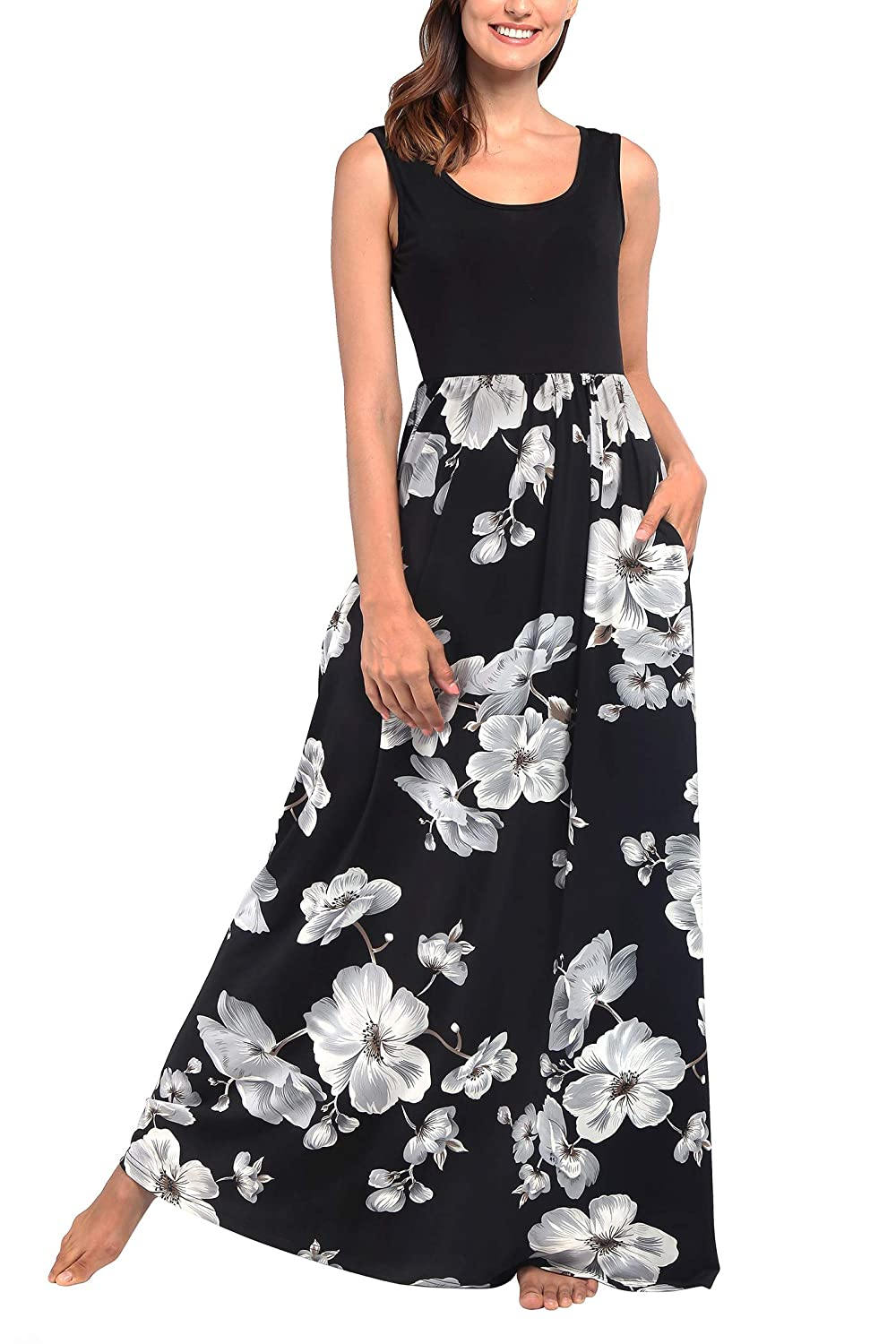Black  White Floral Comila Women's Summer Sleeveless Floral Print Tank Long Maxi Dress with Pockets