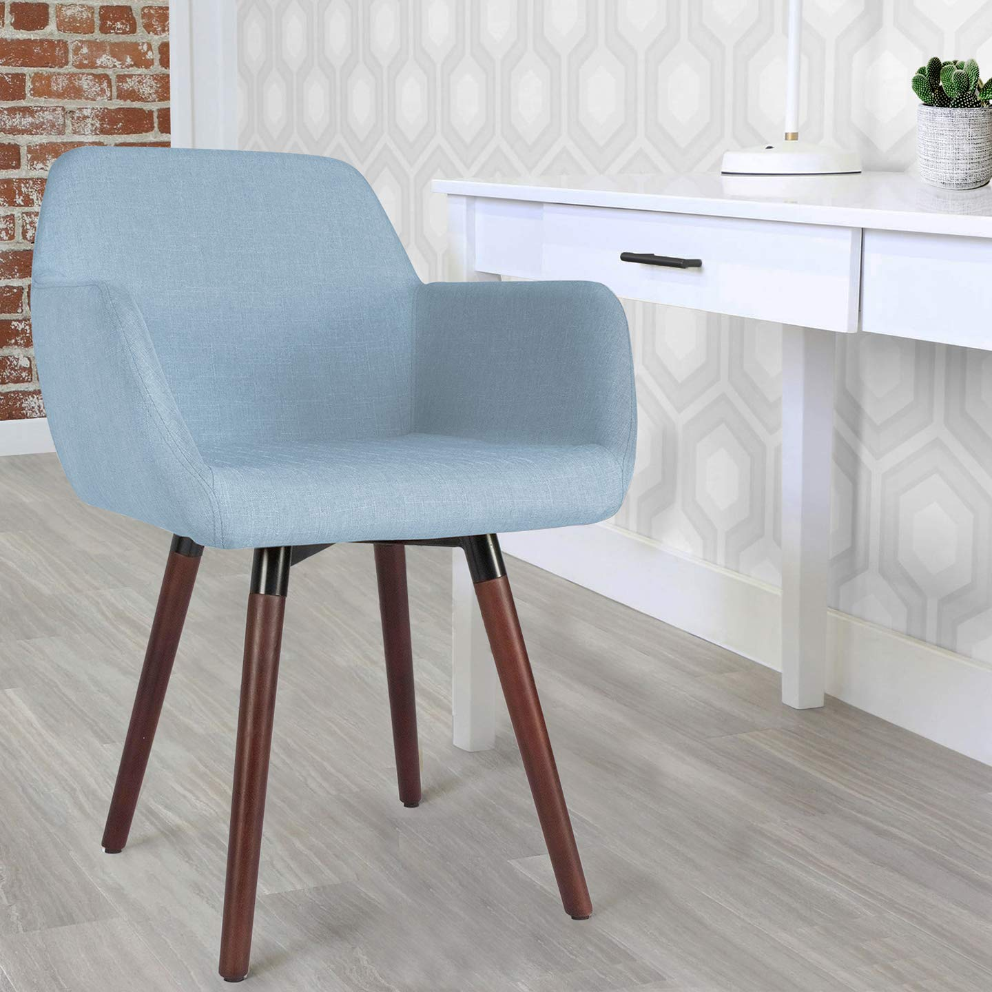 Milani Accent Chair, Contemporary Indoor Blue Upholstered Fabric Dining Arm Chair with Solid Wood Legs for Living Room, Dinning Room