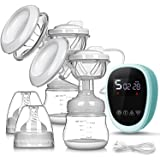 Electric Breast Pump, UTOBY Rechargeable Portable Double Pumps Nursing Breastfeeding Pump Pain-Free Strong Suction Power for