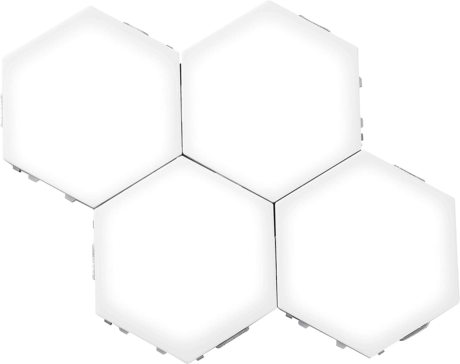 Hexagon Led Lights,Large Size Honeycomb Wall Lights DIY Modular Touch Lamp Quantum Night Light for Home Office Hotel Bar (4 PCS, White)