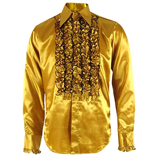 1960s Men's Clothing, 70s Men's Fashion Chenaski 079 Gold/Brown Ruffle Ruche Frill Tuxedo 70s Satin Shirt £39.95 AT vintagedancer.com