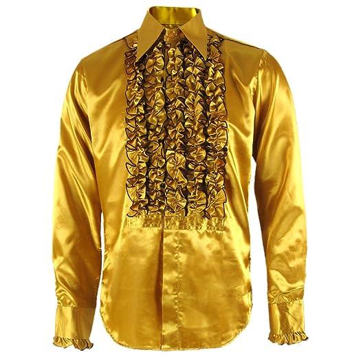 1960s – 70s Mens Shirts- Disco Shirts, Hippie Shirts Chenaski 079 Gold/Brown Ruffle Ruche Frill Tuxedo 70s Satin Shirt £39.95 AT vintagedancer.com