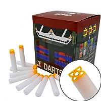 "EKIND 200 Pcs 7.2cm New Design TPR ""Waffles"" Soft Head Darts Refill Foam Bullet for Nerf N-Strike Elite AccuStrike Series Blasters Toy Gun (White)"