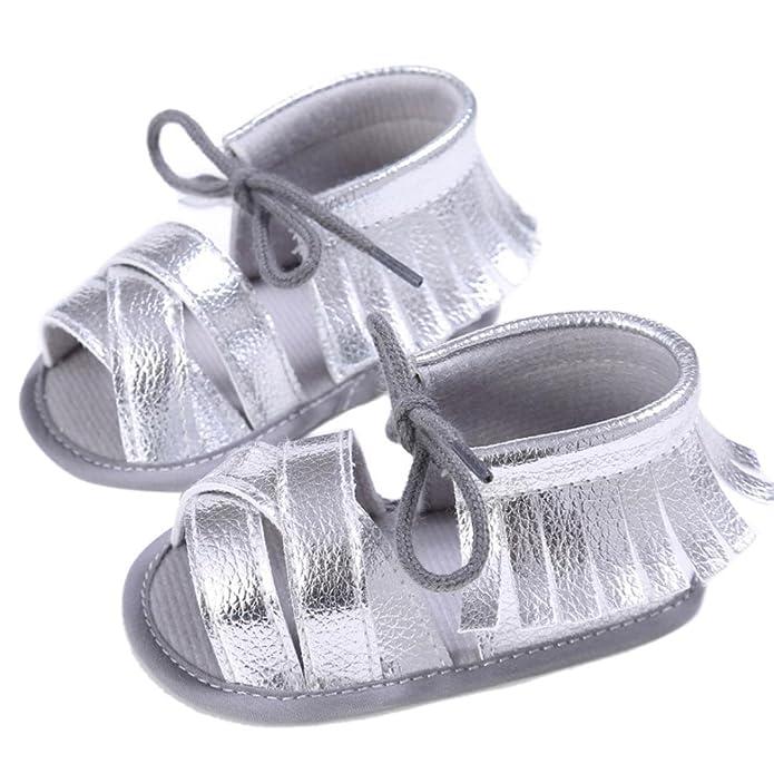 Koly_Newborn Ragazze Ragazzi greppia scarpe morbide suola antiscivolo sandali del bambino Sneakers nappa (SIZE 11, Oro)