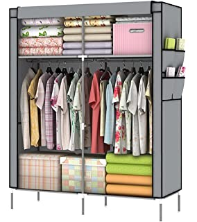 youud diy assambled portable clothes closet wardrobe fabric clothes storage organizer gray