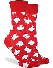 Good Luck Sock Women's Canada Maple Leaf Crew Socks, Red, Shoe Size 5-9