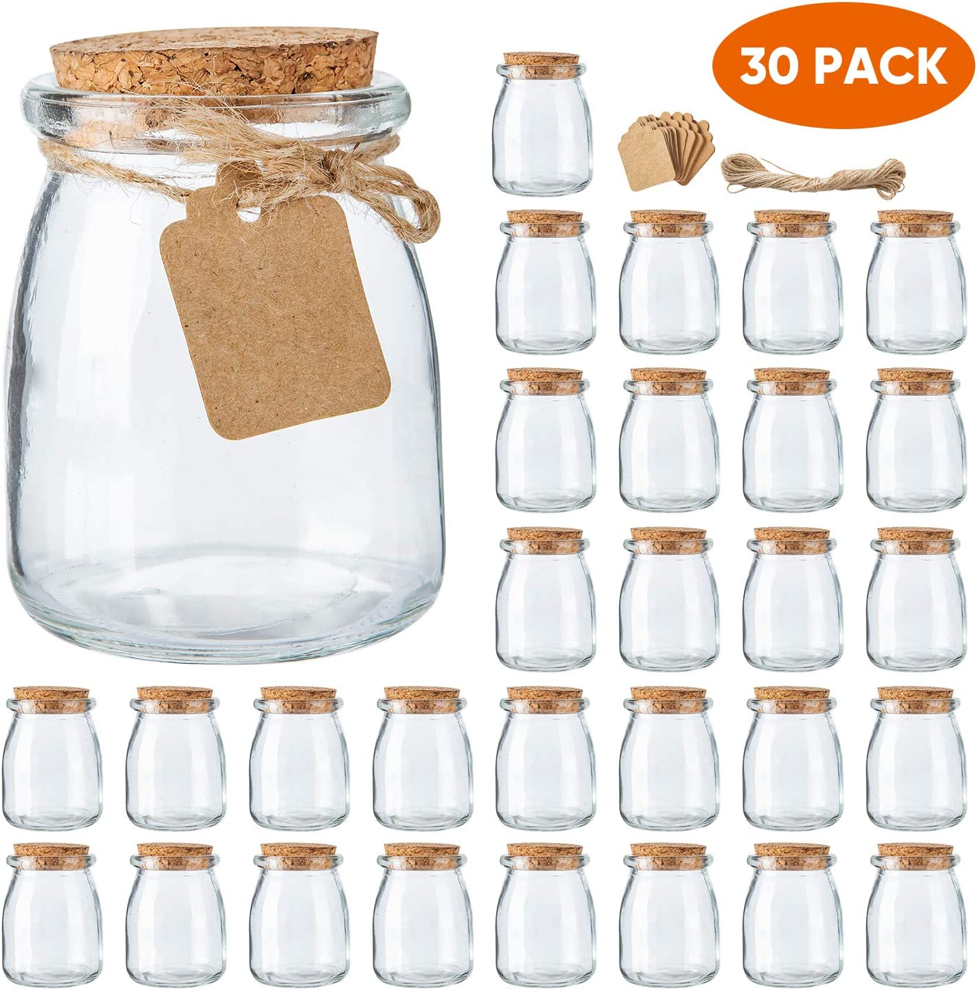 Mini Yogurt Jars 30 Pack, 7 oz Glass Favor Jars with Cork Lids, Glass Pudding jars, Glass Containers with Lids, Mason Jar Wedding Favors Honey Pot with Label Tags and String