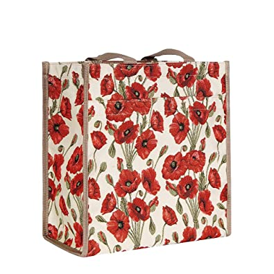 Signare Tapestry Red and White Women's Shopping Tote Bag/Shoulder Bag with  Poppy (SHOP-POP)