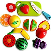X Zini Realistic Sliceable Cutting Play Toy with Fruits, Knife, Plate and Cutting-Board for Kids (Multicolour) - Set of 10pcs