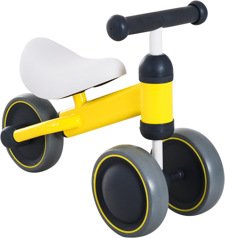 HOMCOM Triciclo Bicicleta sin Pedales para Niños 18-24 Meses con Sillón Cómodo Aprender a Caminar Carga 30kg 47x19x35cm Aluminio