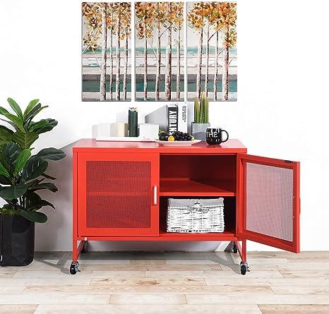 Furnish Metallschrank Mit 2 Gitterturen Fur Wohn Und Schlafzimmer Rot Amazon De Baumarkt