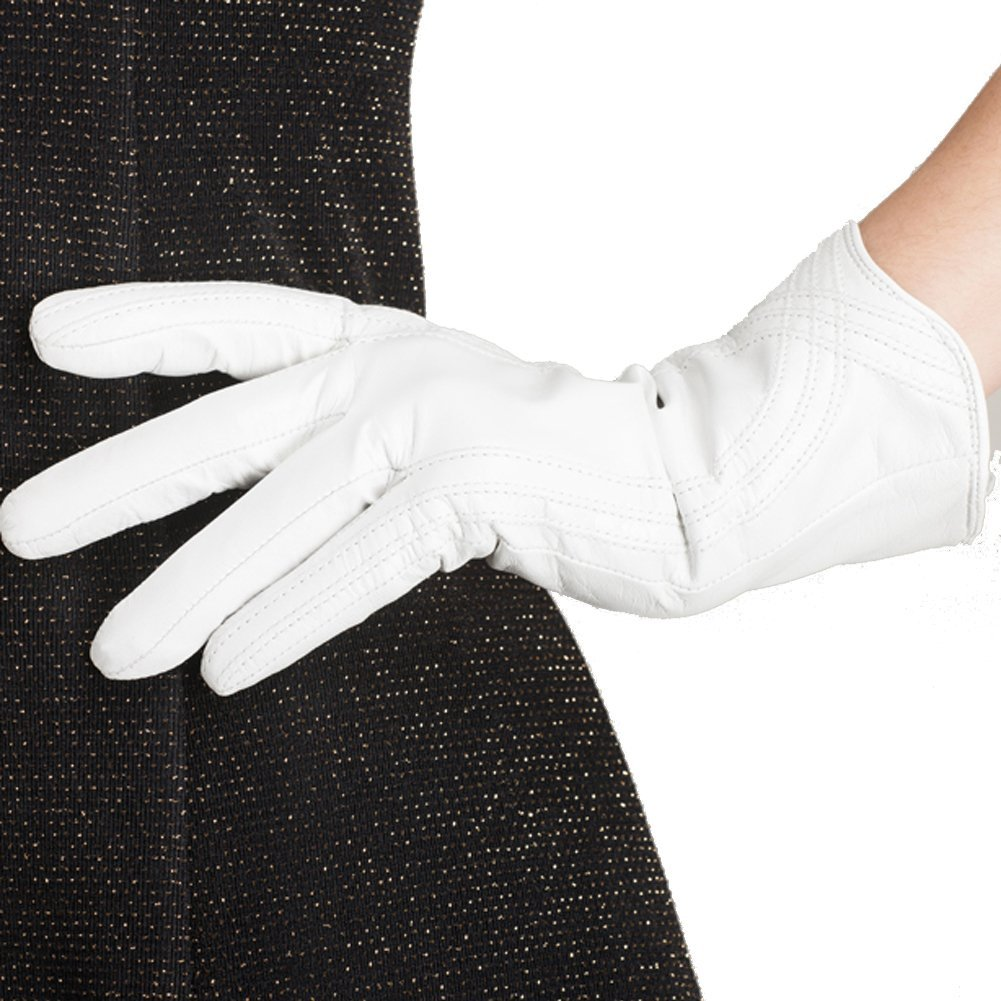 Nappaglo Nappa Leather Gloves Warm Lining Winter Handmade Curve Imported Leather Lambskin Gloves for Women (L, White)