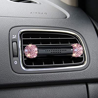 SAVORI Car Air Freshener Vent Clip, Bling Rhinestone Crystal Solid Perfume Aroma Car Fragrance Diffuser with Vent Clip Car Vehicle Solid Air Purifier Reusable for Vehicle Bedroom (Rose Red): Automotive