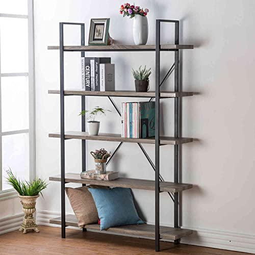 HSH 5-Shelf Vintage Industrial Rustic Bookshelf