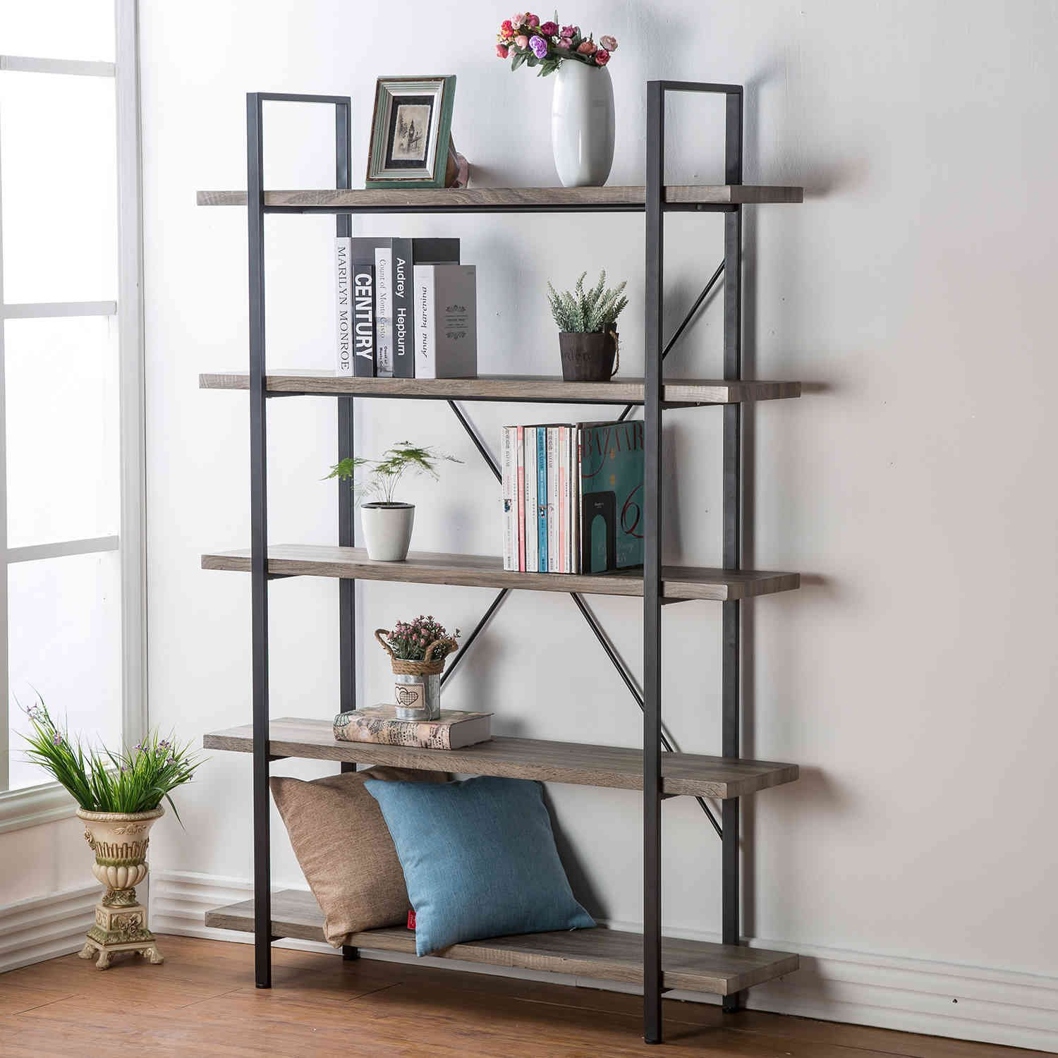 HSH Furniture 5-Shelf Vintage Industrial Rustic Bookshelf, Wood and Metal Bookcase, Open Etagere Book Shelf, Dark Oak by HSH Furniture