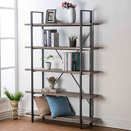 HSH Furniture 5 Shelf Vintage Industrial Rustic Bookshelf Wood And Metal Bookcase Open
